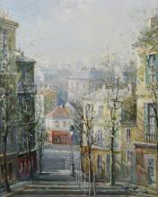 Lucien Delarue, Oil on Linen, Paris Street Scene