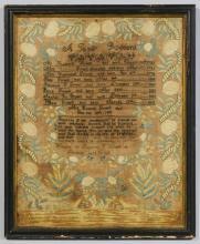 Mass. Genealogy & Mourning Sampler, 19th c.
