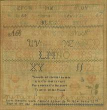 1824 Needlework Sampler, attrib Kentucky