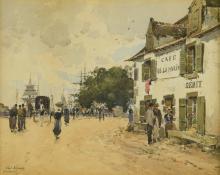 Paul Lecomte Watercolor, Concarneau