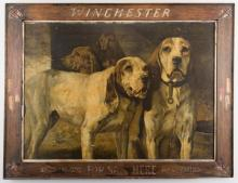 H. R. Poore Winchester Sign with Hunting Dogs