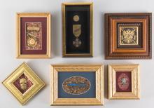 3 Framed Badges & 1 Framed Medal, incl. French War Cross