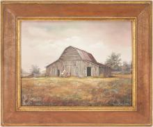 Marion Cook, Barn w/ Horses O/C Painting