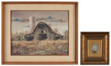2 Marion Cook Paintings, Barn and Daisies
