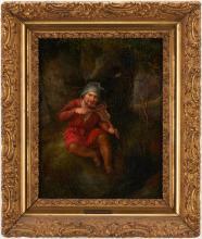 German O/C Gnome Painting, H. Rhomberg