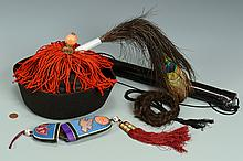 Chinese Qing Official's Winter Hat w/ Spectacles, 4 items