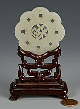 Carved White Jade Disc and Stand