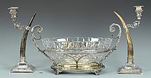 Centerpiece bowl w/Stag horn candlesticks