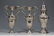 Hanau Silver Urns and Caster