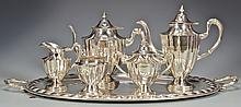 6 pc. Mexican Sterling Tea Set w/ Sterling Tray