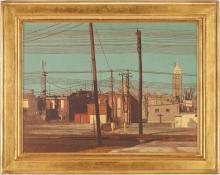 Harry A. Davis Acrylic on Board Downtown Scene of Greensburg