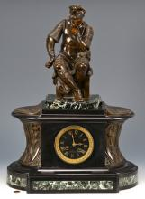 French Bronze & Marble Mantle Clock