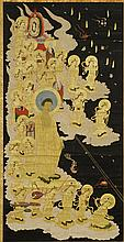 19th c. Scroll Painting, Buddha at Festival Time