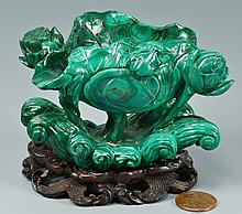 Malachite Libation Cup w/ Frog & Floral Carving