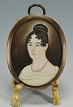 Folk Art Portrait Miniature, American School, 1820