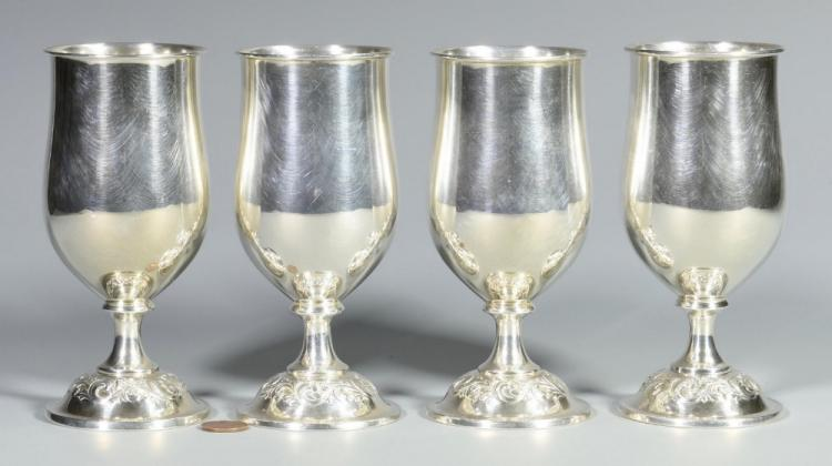 4 Towle Old Master Sterling Goblets