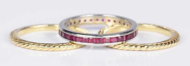 Ruby Eternity Ring & Pr. 18K Bands
