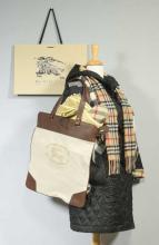Burberry Hooded Coat, Tote, Umbrella & Scarves
