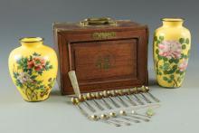 White Jade Brooch, Green Jade Pendant & Asian items