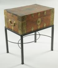 Asian Brass Clad Lap Desk and Stand