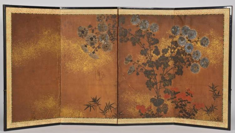 Painted Japanese Screen, Edo Period