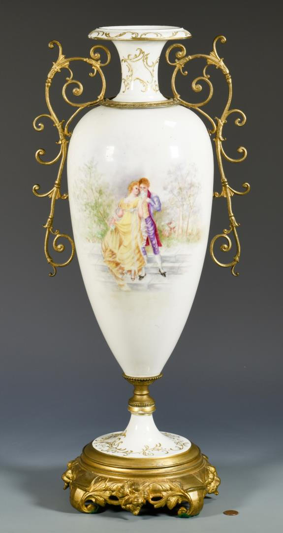 Large French Porcelain Urn w/Ormolu Mounts