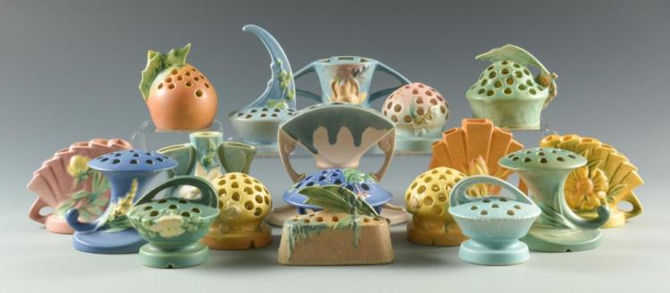 Grouping of 18 Art Pottery Flower Frogs