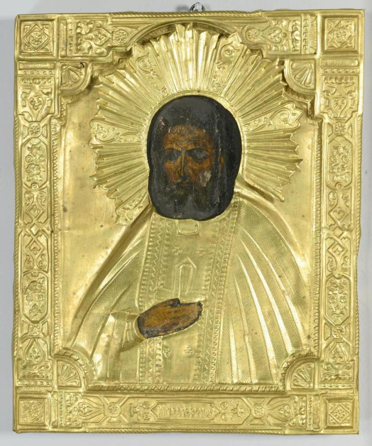 Russian Icon with gilt oklad