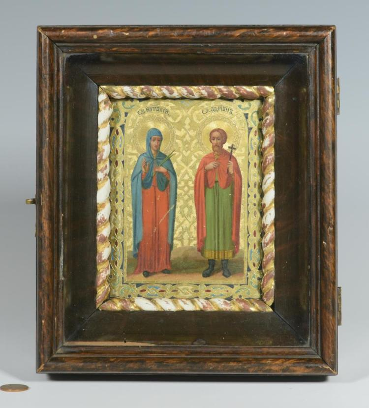 Box Icon with 2 Saints, dated 1898