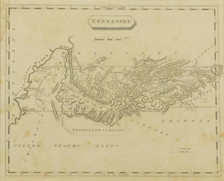Tennessee Map, Samuel Lewis & Alexander Lawson