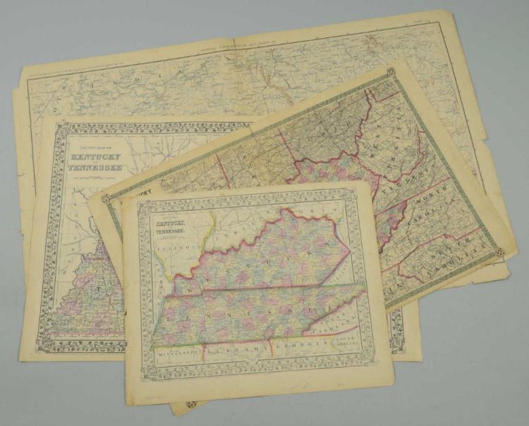 4 Southern States Maps, TN, KY, VA & NC