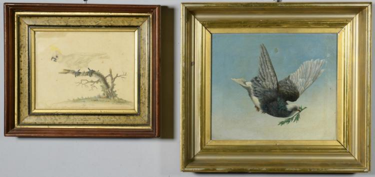 2 Art Images of Birds, O/C and Engraving