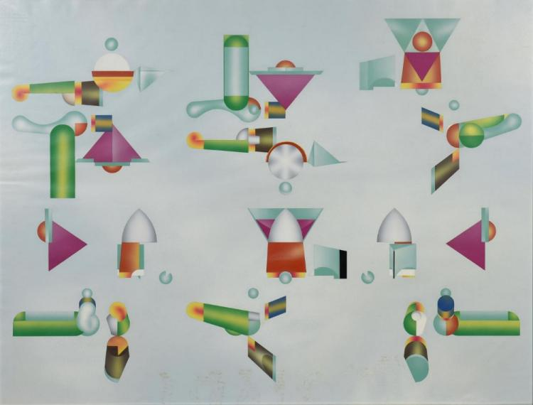 Ralph Cox, enamel on paper