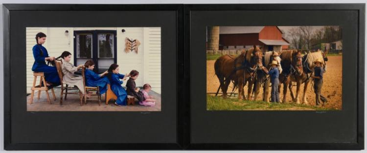 2 Barry Jackson framed photos of Amish