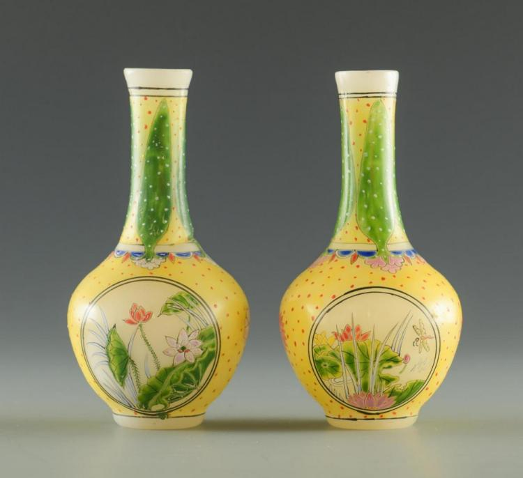 Pr. Miniature Peking Class Cabinet Vases