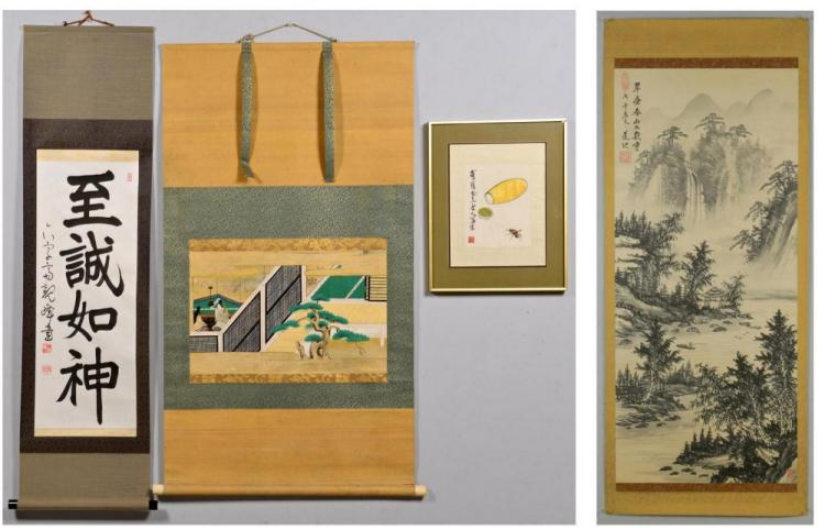 3 Chinese Scrolls plus Cricket Picture