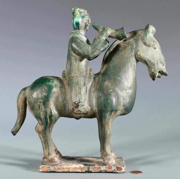 Chinese Pottery Tang Style Horse & Rider
