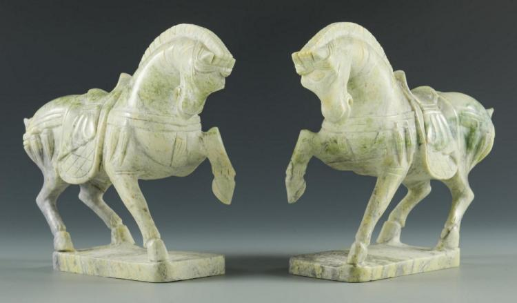 2 Asian Hardstone Horses