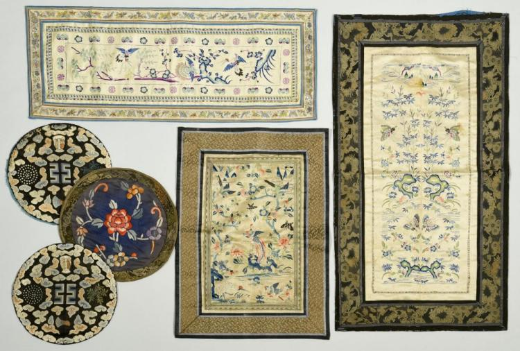 Group of 6 Chinese Embroideries on Silk