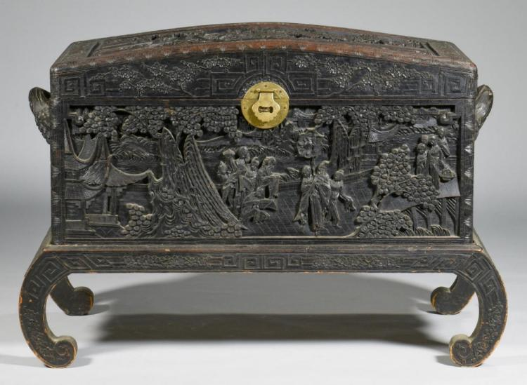 Chinese Carved Box on Stand with Relief