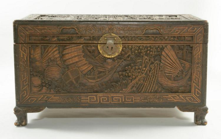 Chinese Carved Camphor Chest w/ Hong Kong stamp