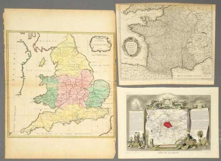 3 European Maps Including France & England