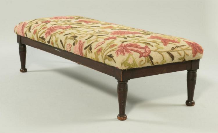 Sheraton Style Upholstered Long Footstool