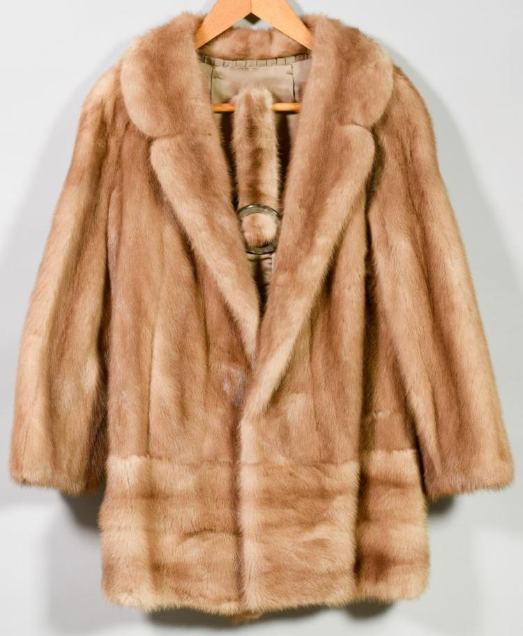 Mink Fur Short Jacket with Belt, Honey Color