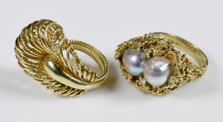 Two 14K Fashion Rings