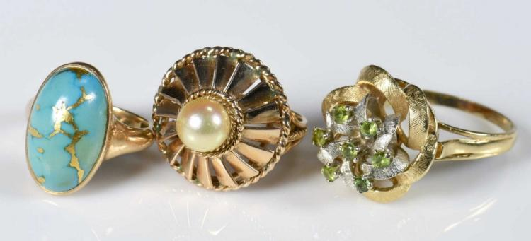 3 14K and 10K Vintage Ladies Rings