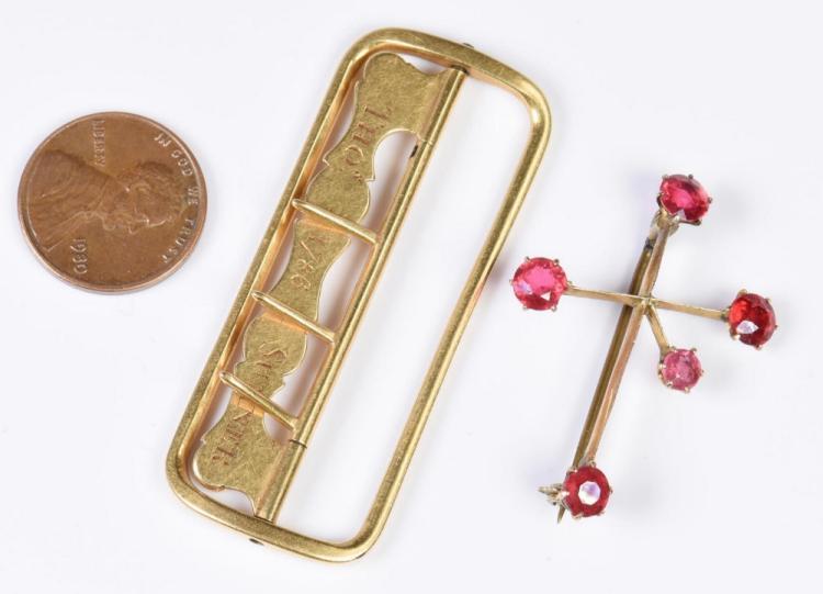 18th c. gold buckle, 18K, plus stickpin