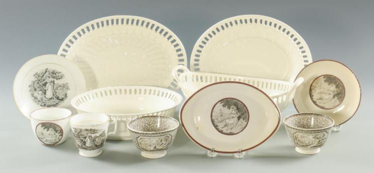 Grouping of Creamware & Transferware Porcelain