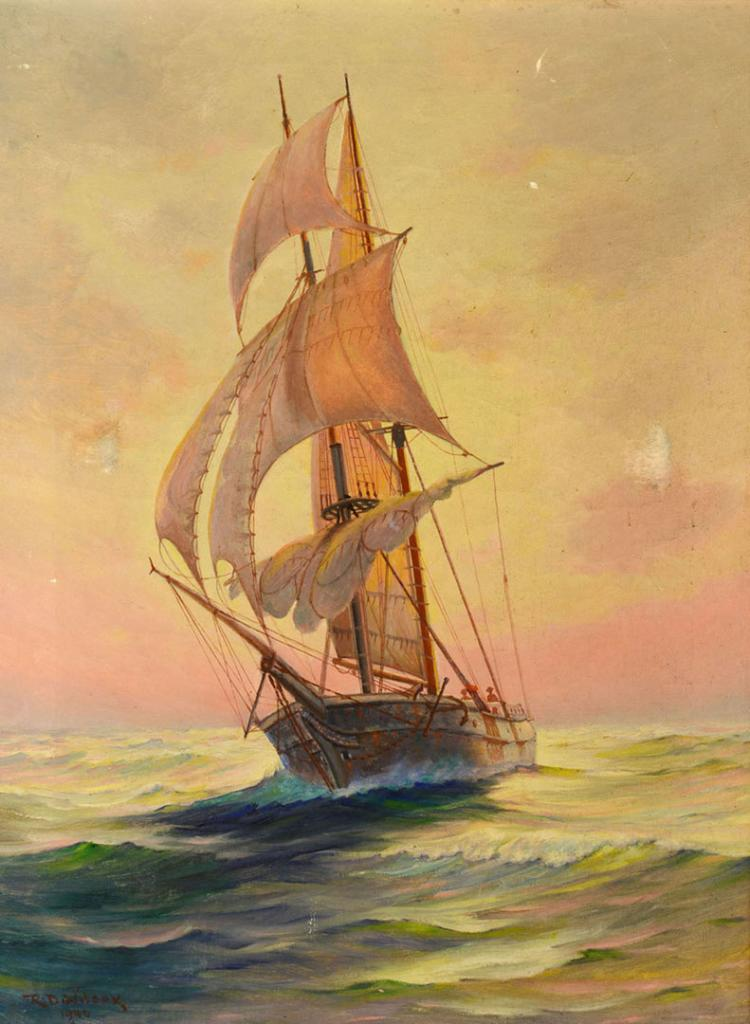 Ruth Dawes Wilcox Oil on Canvas - Ship at Sea