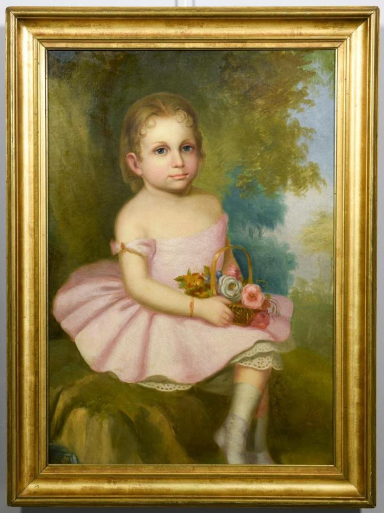19th c. Am. Portrait Young Girl